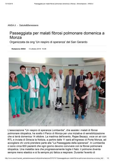 Passeggiata per malati fibrosi polmonare domenica a Monza - Alimentazione - ANSA.it-1